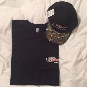 Men's black extra large t-shirt and ball cap
